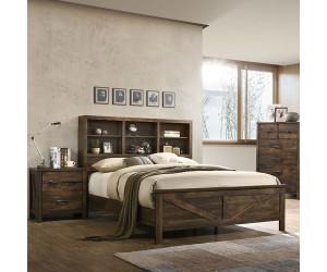 Crossroads Furniture C8100A-Q48 Rustic Oak HB/FB, Slats/Rails